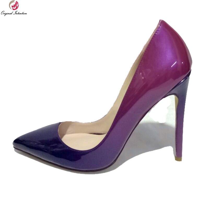43ba23de857 Original Intention Fashion Women Pumps Sexy Pointed Toe Thin High Heels  Pumps Red Purple Gradient Shoes