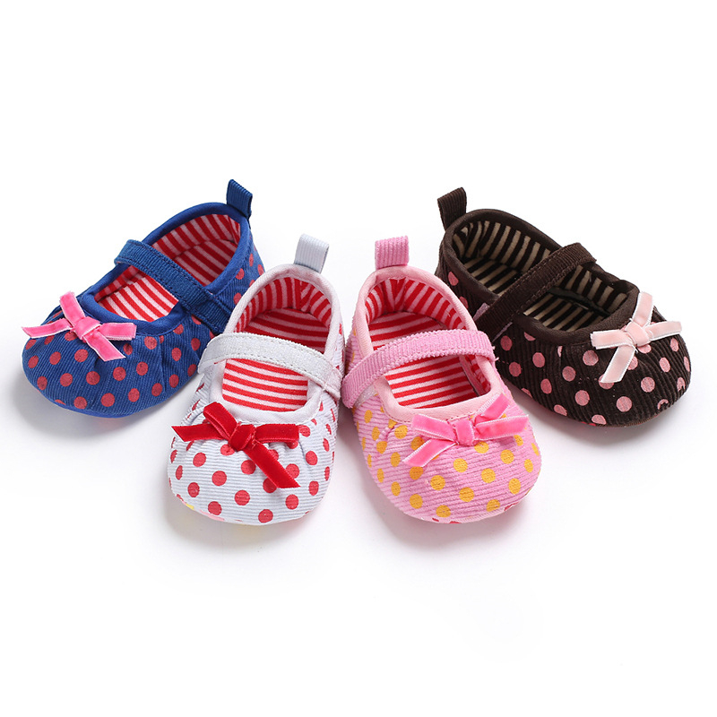 Joyo roy Spring 0-2 year old baby spring and autumn polka dot bow soft baby toddler non-slip shoes newborn training shoes dj0134