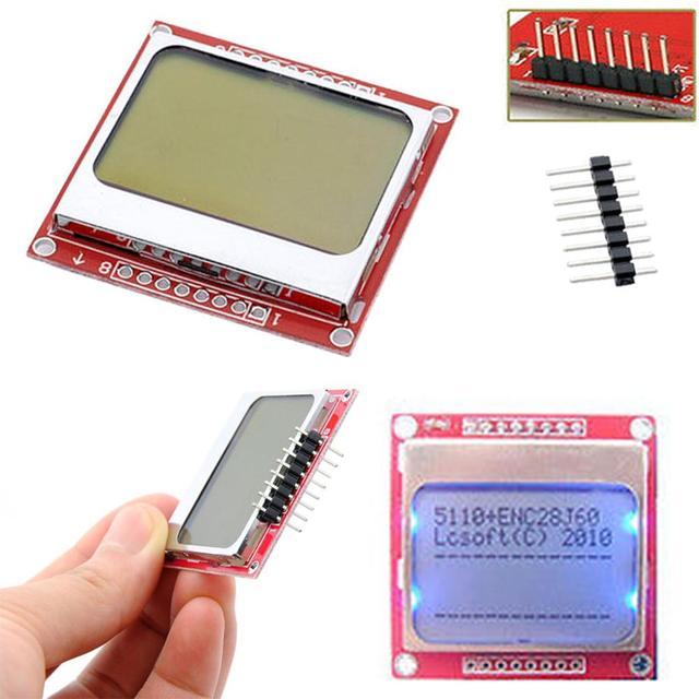 חכם אלקטרוניקה LCD מודול תצוגת צג לבן תאורה אחורית מתאם PCB 84*48 84x84 נוקיה 5110 מסך עבור arduino