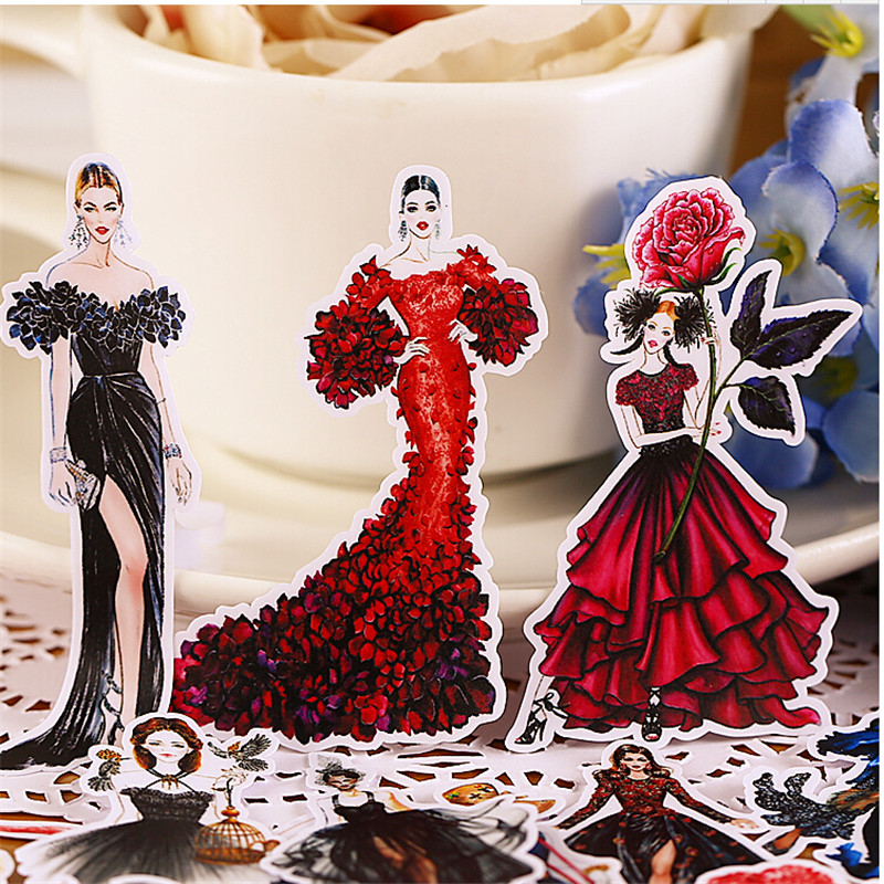 22pcs Creative Cute Self-made Gorgeous Show Field / Fashion Girl Scrapbooking Stickers /Decorative Sticker /DIY Craft Photo Albu