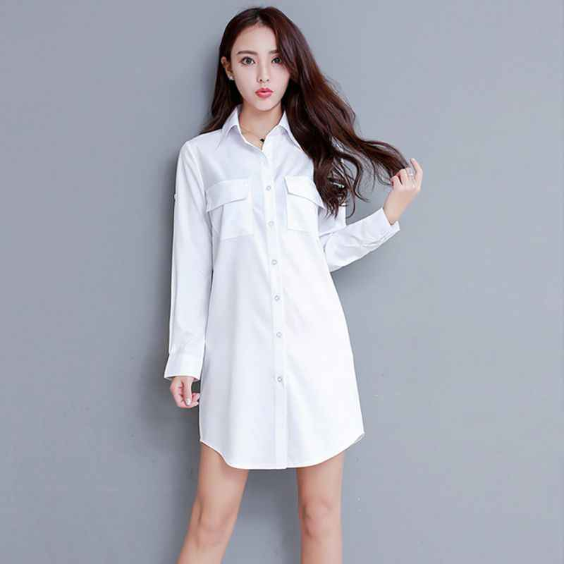 Long Blouse Women Full Sleeve Knee Lengthen Turn-Down Oversized Collar Tops Ladies Shirts Clothing