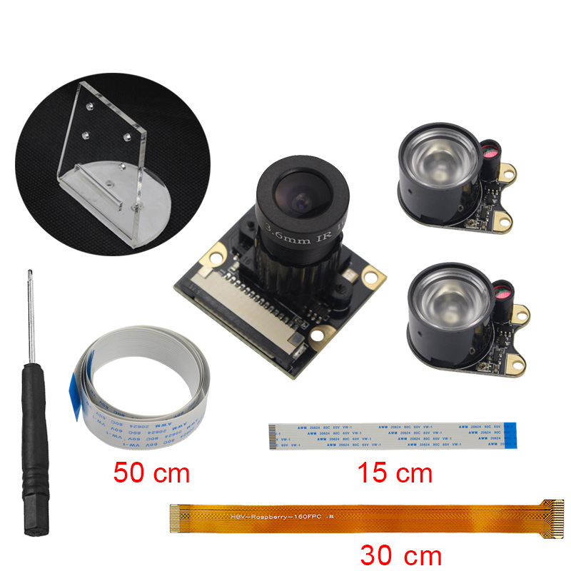 Raspberry Pi 3B+ Camera Focal Adjustable Night Vision Camera + Holder + IR Sensor Light + FFC for RPI 3 Raspberry Pi Zero W /1.3 waveshare raspberry pi robot building kit include raspberry pi 3b alphabot rpi camera ir control line tracking speed measuring