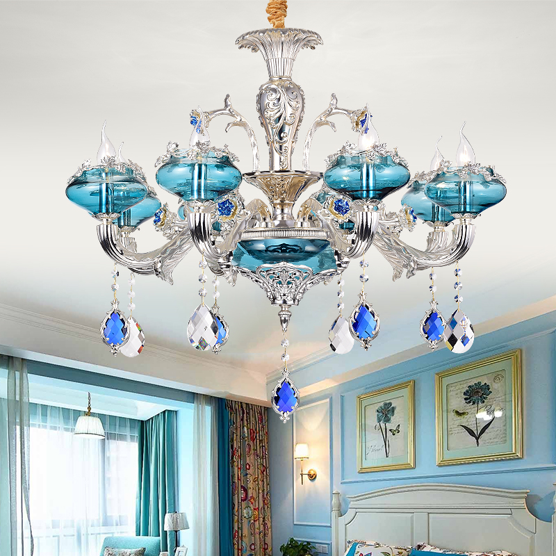 цена на 2018 New Blue Crystal Chandelier Living Room European Style Hanging Lamp Hotel Restaurant Bedroom led Candle Crystal Chandeliers