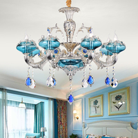 2018 New Blue Crystal Chandelier Living Room European Style Hanging Lamp Hotel Restaurant Bedroom led Candle Crystal Chandeliers