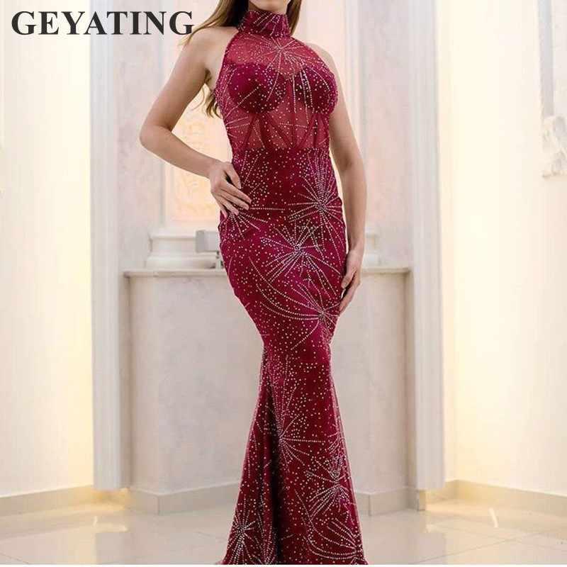 Блестками бордовый Длинные платья выпускного вечера Съемная Поезд Высокая шея Саудовская Арабский Для женщин Русалка вечернее платье 2019 элегантный Дубай