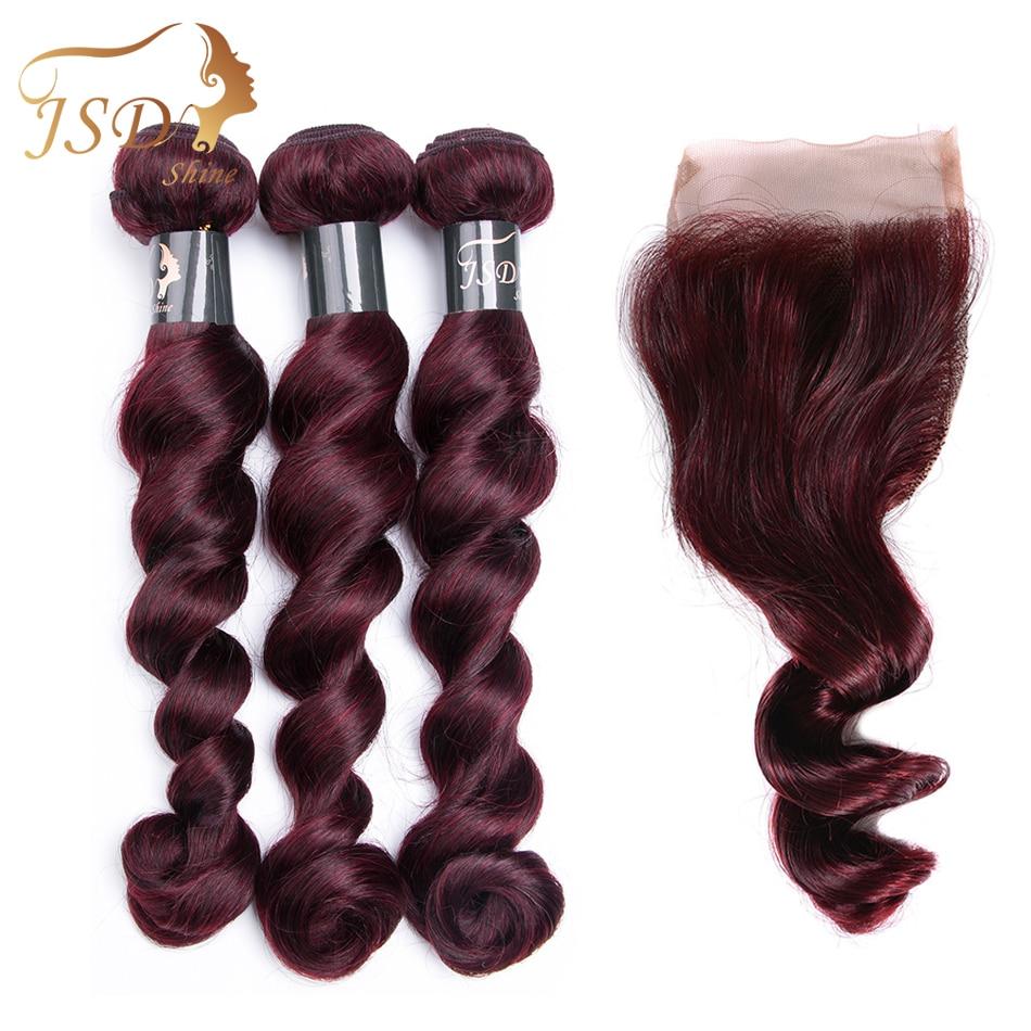 JSDShine Loose Wave 99J Color Human Hair Brazilian Loose Wave Hair 3 Bundle with Closure Colorful Hair Bundles With Closure Deal