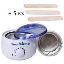 Hot Wax Handle Pot + 5 Sticks Waxing Heater Warmer Hair Removal Depilatory Paraffin Beauty Depilatory Health Care Paraffin Bath