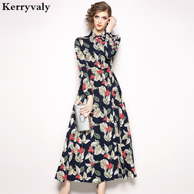 7a50b9a817f Autumn Printed Long Sleeve Floral Maxi Dress Robe Femme Hiver 2019 Women  Runway Long Party Dress Vestido Longo K6191