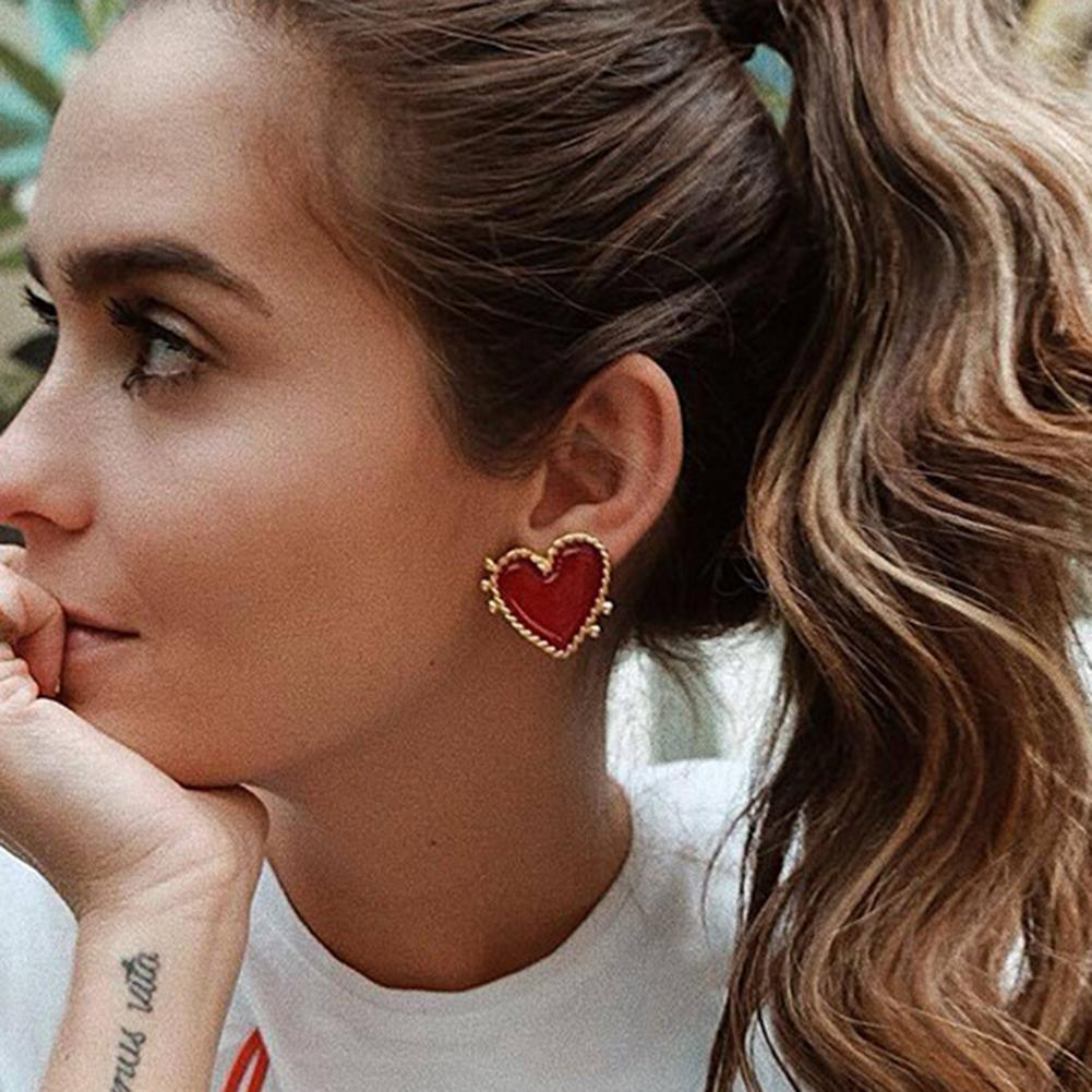 Stud-Earrings Christmas-Jewelry Punk Big Stud Gold Heart Bohemian Women New-Design