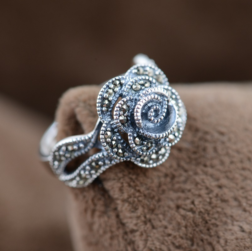 Marcasite rose ring S925 silver inlaid silver wholesale antique style female models s925 silver antique style men open world peace ring