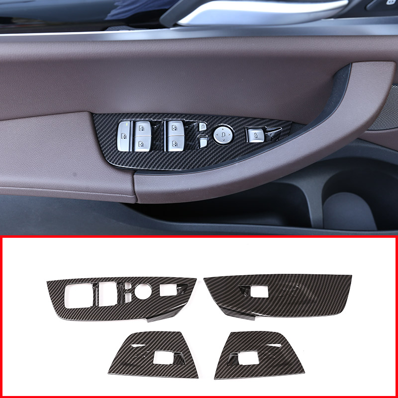 Us 25 42 18 Off 4pcs Carbon Fiber Style Abs Plastic For Bmw X3 G01 2018 2019 Abs Window Lift Decoration Frame Cover Trim Car Accessories Lhd In