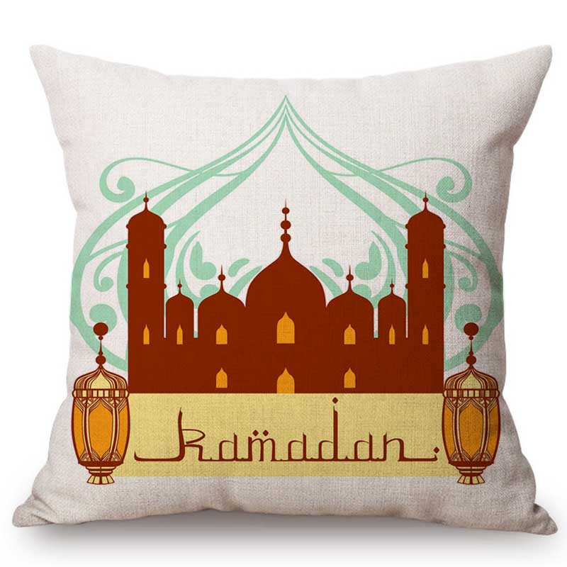 Islamic Cartoon Ramadan Muslim Lantern Mosque Art Home Decoration Throw Pillow Case Cotton Linen Islam Festival Cushion Cover