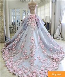 Robe-De-Mariage-Luxury-Ball-Gown-Wedding-Dresses-2017-Long-Train-Handmade-Pink-Flowers-See-Through