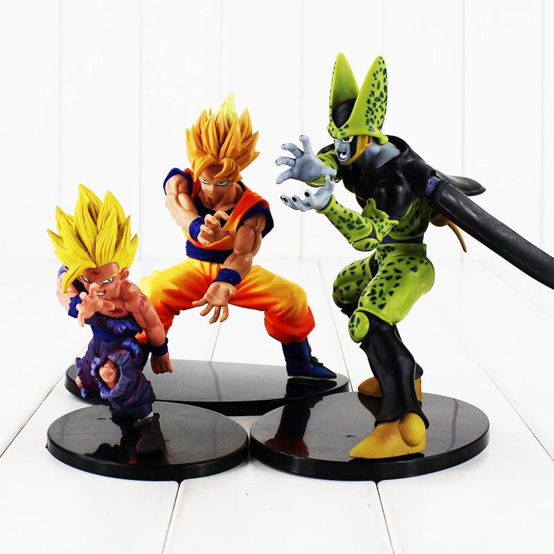 3pcs/lot 12-17cm Japan Anime Dragon Ball Z Dramatic Showcase Son Goku Son Gohan Super Saiyan Cell PVC Figure Model Doll Toys