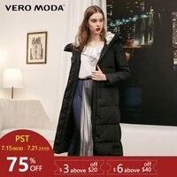 Vero Moda Новый Съемный длинный пуховик с капюшоном и кроличьим мехом для женщин   318312503