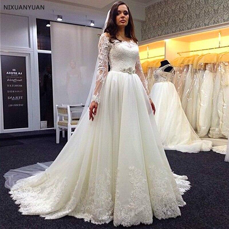 A Line Vestidos De Novia Scoop Appliques White Lace Bride Dress Cheap Long Sleeve Lace Wedding Dresses Sofuge With Beaded Sash