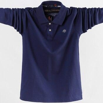 2019 hommes Polo chemise hommes d'affaires travail décontracté coton homme top t-shirts automne manches longues col rabattu Polo chemise de grande taille 5XL