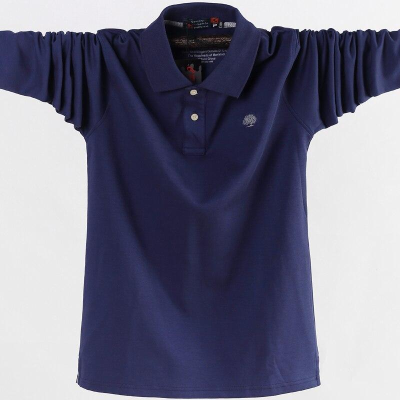 Мужская рубашка поло, мужская деловая Повседневная хлопковая футболка с длинным рукавом и отложным воротником на осень, большие размеры 5XL ...