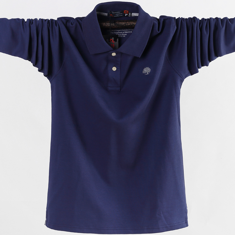Camisa polo masculina trabalho de negócios casual algodão masculino topo t outono manga longa turn-down collar polo camisas plus size 5xl 6xl