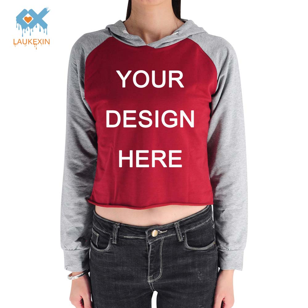 LAUKEXIN Brand Tops Custom Your Staff Logo Text Design on Own Cropped Hoodie Gift for Daughter Girlfriend Wife Crop Top Pullover
