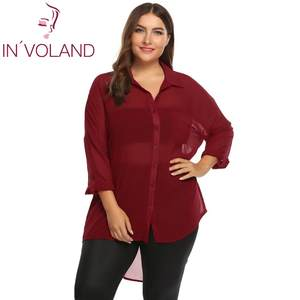 2eed0bdf2799d INVOLAND Plus Size Women Blouse Tops Sleeve Chiffon Shirt