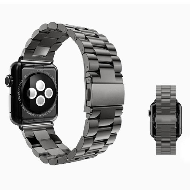 Alta qualidade do metal pulseira de relógio de aço inoxidável preto/prata band para apple watch band 38mm/42mm ligação para iwatch relógios inteligentes