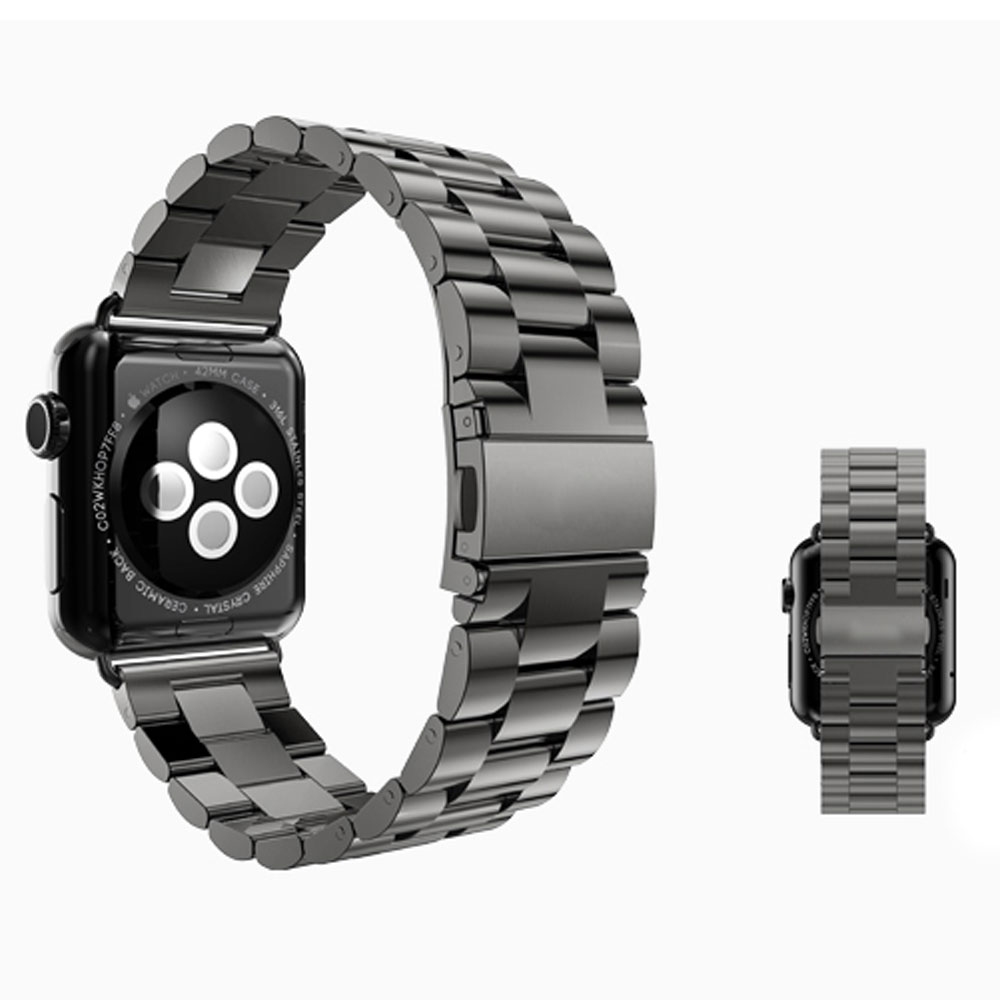 High Quality Metal Stainless Steel Watch Strap Black/Silver Band for Apple Watch Band 38mm/42mm Link For iWatch Smart Watches high quality black color leather 38 42mm width apple watch strap band for apple watches