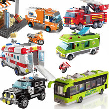QWZ New City Car Police Fire Truck Firemen Car Legoes Building Blocks Sets Bricks Model Kids Toys Gift For Boys(China)