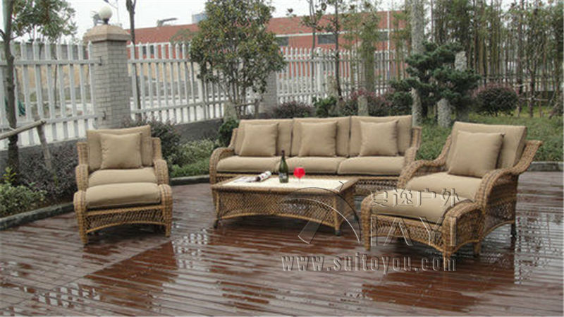 6 pcs half round rattan sofa set pastoralism home indoor. Black Bedroom Furniture Sets. Home Design Ideas