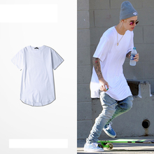 Plus Size Hip Pop Style Basic Long T-shirt Men Women Plain White Black Street Man Tee Shirts Justin Bieber Men Tshirt Skate Tees