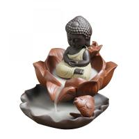 Traditional Buddhism Incense Burner Lotus Base Seat Buddha Incense Censer Monk Ceramic Aromatherapy Smoke Backflow Porcelain