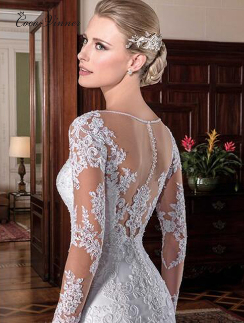 Illusion Vintage Mermaid Wedding Dress 2021 vestidos de novia Embroidery Appliques White Wedding Dresses robe de mariee W0023 2