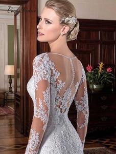 Image 2 - Illusion Vintage Mermaid Wedding Dress vestidos de novia 2020 Embroidery Appliques White Wedding Dresses robe de mariee W0023