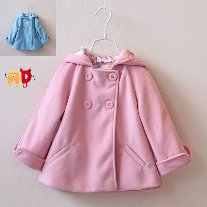 AD Children's Lovely Rabbit Ears Hat Solid Color Wool Blend Fleece Little Princess Girl's Coat Winter Outwear for 2-10 Years Old lapel pea coat in wool blend