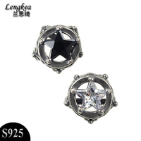 Free Shipping 925 Silver Stud Earring Hollow Five Pointed Star Vintage Jewelry Boys Girls Personalized Ears