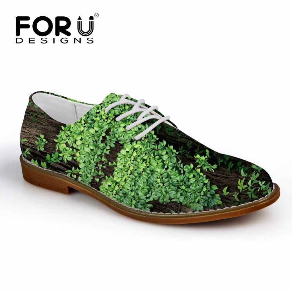 FORUDESIGNS Luksusmehed Briti korterid Fashion Rohelised taimed Trükitud vabaajarõivaste kingad Ametlik sünteetiline nahk Oxford Male kinga