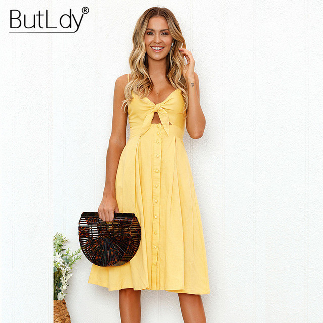 Summer Bohemian Beach Dress Women Sexy Casual Spaghetti Strap V-Neck Sleeveless Solid Long Sundress Bow Vintage Party Dress