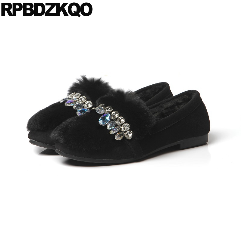 Flats Rabbit Suede Chinese Slip On Winter Round Toe Black Ladies Beautiful Shoes Fur Comfortable Rhinestone Crystal European black and white senior rabbit fur hat