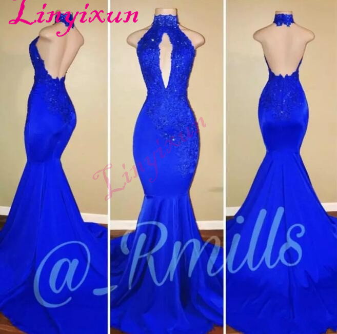 2018 African Royal Blue Mermaid   Prom     Dresses   Long High Neck Sexy Open Back Sleeveless Evening Gowns vestido de festa longo