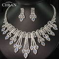 2016 Austrian Crystal Silver Plated African Wedding Jewelry Promotion Rhinestone Necklace Earrings Bridal Jewelry Sets For Women