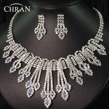 2016 de Plata de Cristal Austriaco Plateado Promoción Joyería de la Boda Africana Collar de diamantes de Imitación Pendientes Sistemas de La Joyería Nupcial Para Las Mujeres