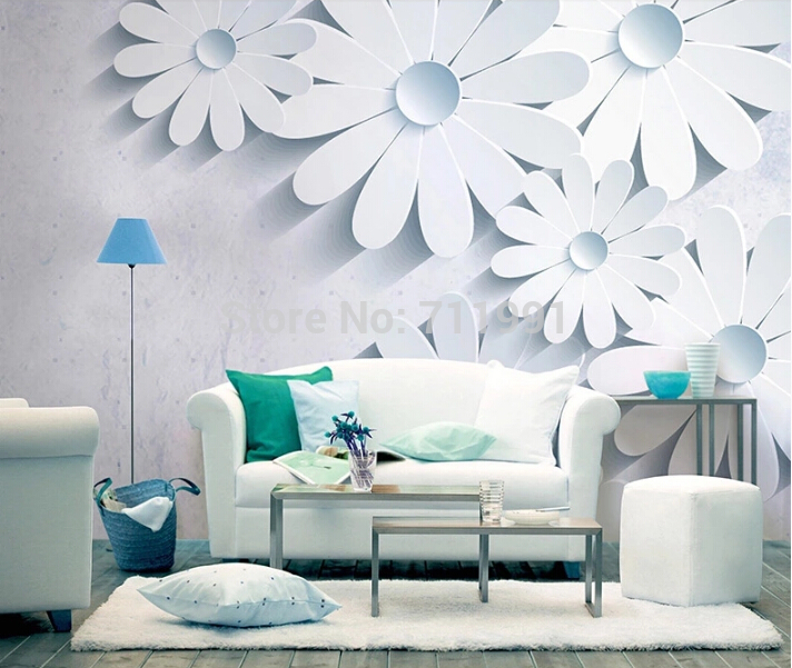 Custom floral wallpaper, 3d stereoscopic wallpaper for living room bedroom sofa background wall waterproof PVC papel de parede 3d stereoscopic large mural custom wall paper fabric living room sofa bedroom tv background wallpaper ocean scenery sky color