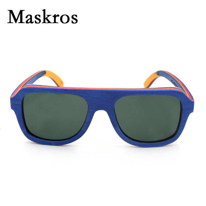 Maskros Spring Hinge HD Polaroid Wood font b Sunglasses b font Men Polarized Women Flat top