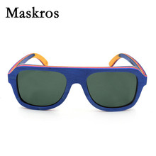 Maskros Spring Hinge HD Polaroid Wood Sunglasses Men Polarized Women Flat top Sun glasses For Female 2017 Wooden Colorful Strip