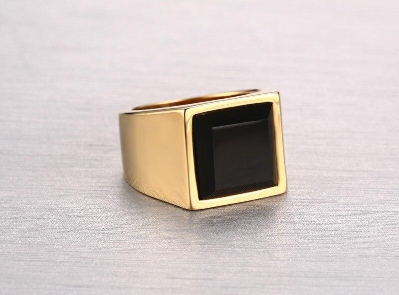 MiLaTu Big Black Square Stone Wedding Ring Men Gold color