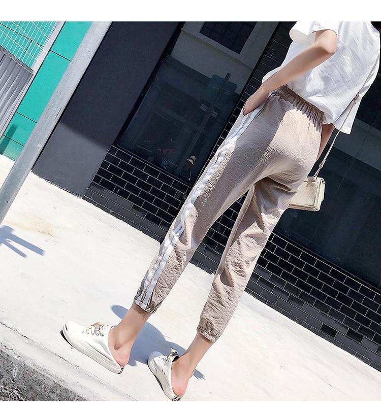 Women Pants Casual Sports Jogging Bottoms Side Stripe Drawstring Sweat Trousers Women Loose Elastic Waist Sportswear Pants 18
