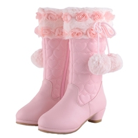 2018 Winter girls warm boots princess lace rose flower hairball boots nice kids wedges leather snow boots kids footwear 17N1120