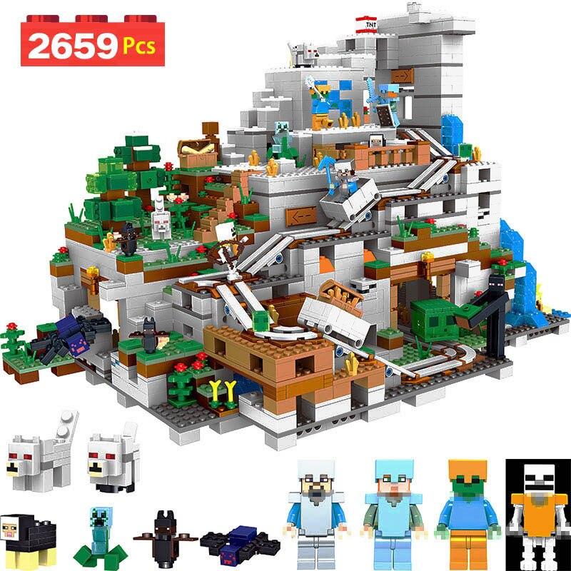 Мой мир серии СОВМЕСТИМЫ LegoINGlys Minecrafter в горной пещере зомби блоки для малышей Железный голем кирпич просвещенный игрушка