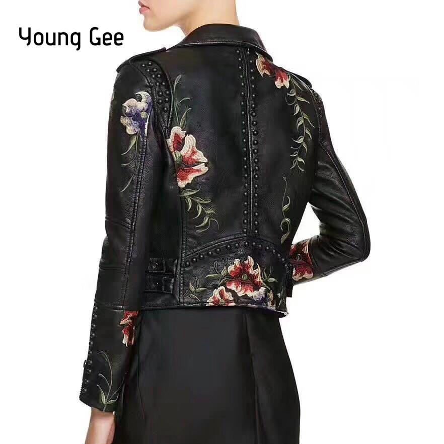 Young Gee PU   Basic   Bomber   Jackets   Faux Leather Coat Embroidery Floral Rivets Outerwear High Streetwear Zipper jaqueta feminina