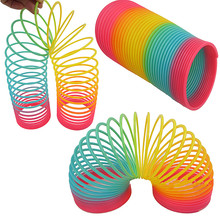 1pcs Rainbow Circle Funny Toys Early Development Educational Folding Plastic Spring Coil Children s Creative Magical